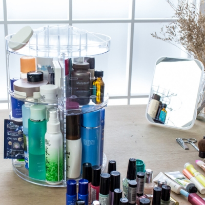 樂嫚妮 360°旋轉彩妝美妝化妝品收納架盒 桌面收納