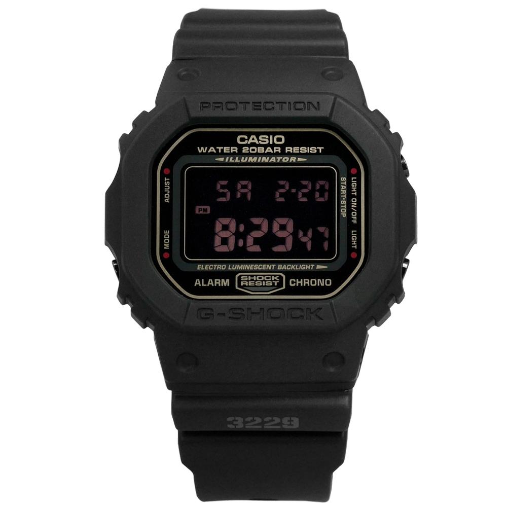 G-SHOCK CASIO 電子液晶 橡膠手錶-黑色 / DW-5600MS-1 / 44mm