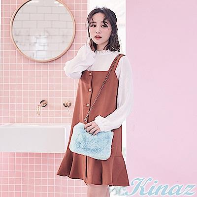 KINAZ 奢華風格兩用鏈帶斜背包-愛麗絲藍-雪絨Q萌系列