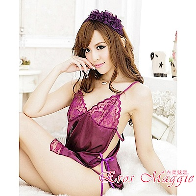 性感睡衣 性感緞面綁帶連身睡衣 EM衣柔魅姬(紫色)
