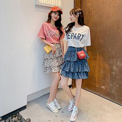 DABI 韓系字母印花不規則蛋糕豹紋裙套裝短袖裙裝