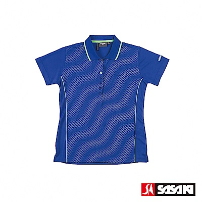 SASAKI 長效性吸排功能Polo休閒短衫-女-義大利藍/淺灰