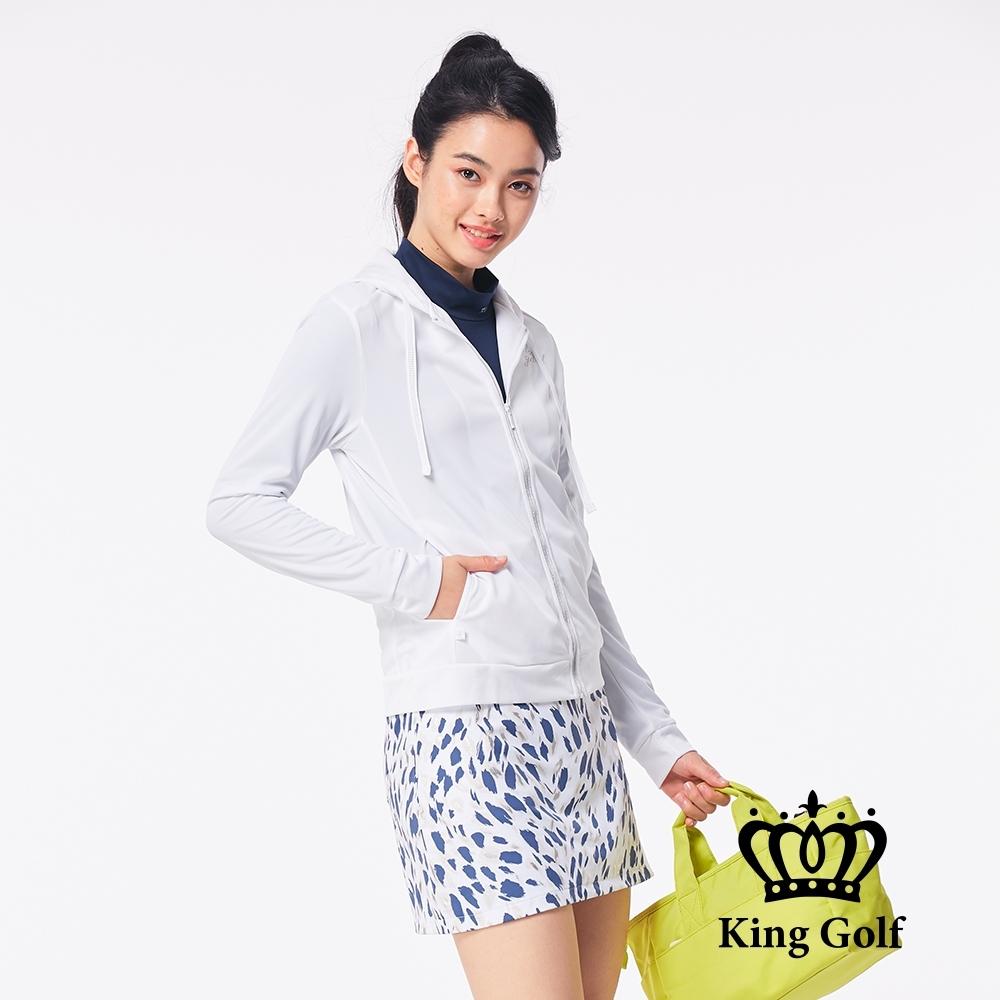 【KING GOLF】簡約修身拉鍊包邊連帽外套-白色