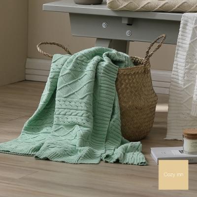 Cozy inn 北歐風菱格麻花針織萬用蓋毯-蘋果綠