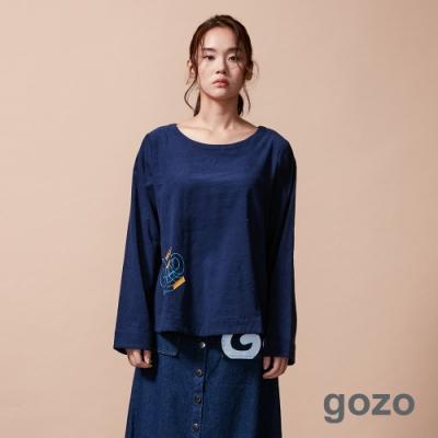 gozo 造型字母膠印燈芯絨上衣(深藍)