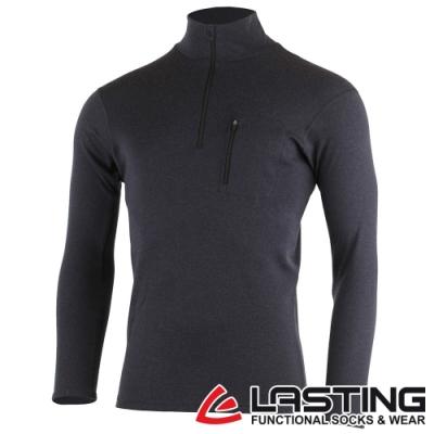 【LASTING捷克】男款羊毛抑菌除臭透氣內著立領拉鍊衫LT-BREND黑灰