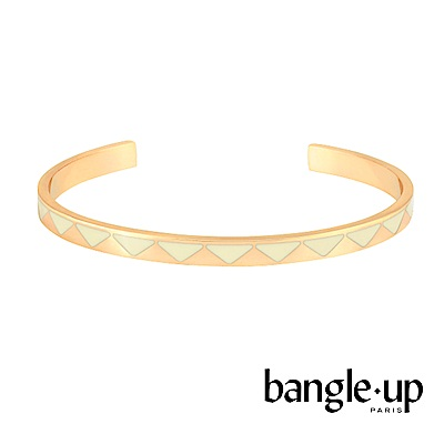 BANGLE UP 時尚印花琺瑯鍍金開口手環 -白