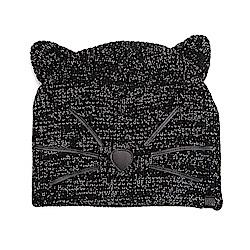 Karl Lagerfeld 貓咪造型羊毛銀蔥針織帽 黑色