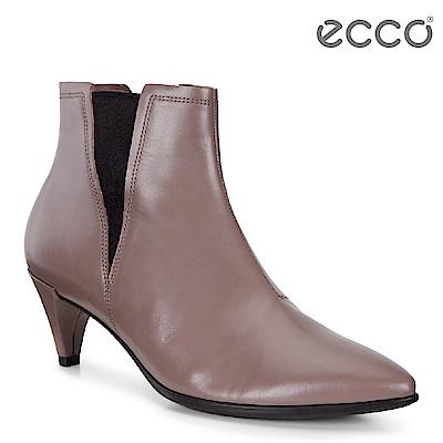 ECCO SHAPE 45 POINTY 率性尖頭小牛皮高跟短靴 女-棕