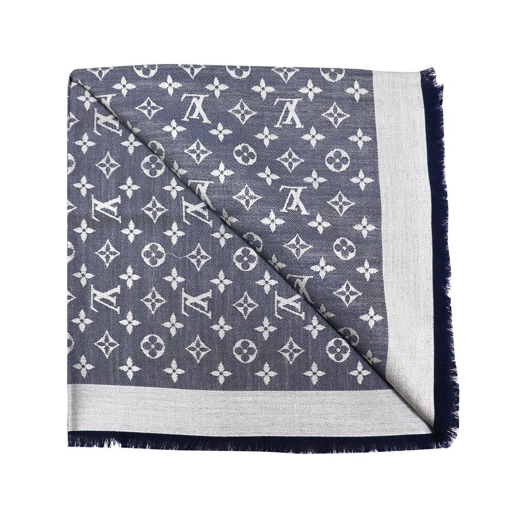 LV M71376 Monogram Denim 經典花紋羊毛絲綢披肩圍巾(藍色)