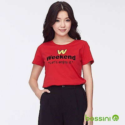 bossini女裝-印花短袖T恤39紅