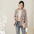 韓系高含棉配色內裡格紋西裝外套-OB嚴選