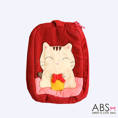 ABS貝斯貓 蝴蝶結貓咪 雙層零錢包 證件包(活力紅)88-111