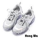 Hong Wa -穿了發大財-獨特金蔥亮皮綁帶老爹鞋 - 銀