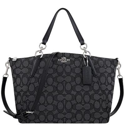 COACH 黑色大C織紋波士頓包/兩用包