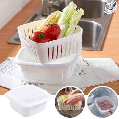【Effect】帶蓋保鮮-雙層冰箱收納蔬果瀝水架(3入)-速