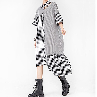 格條紋潮感拼接荷葉領衫裙-(黑色)Andstyle