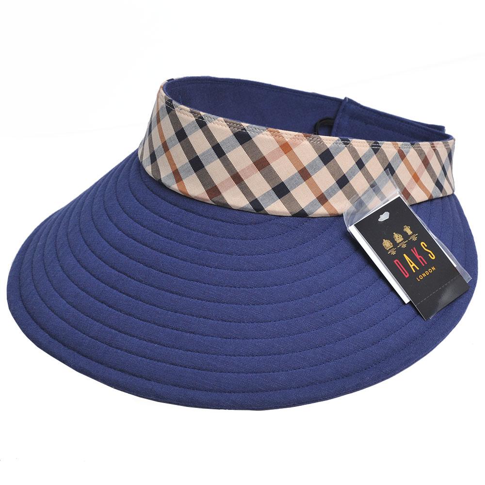 DAKS 經點品牌LOGO布標雙面用運動型可收式大帽緣遮陽帽(藍色)