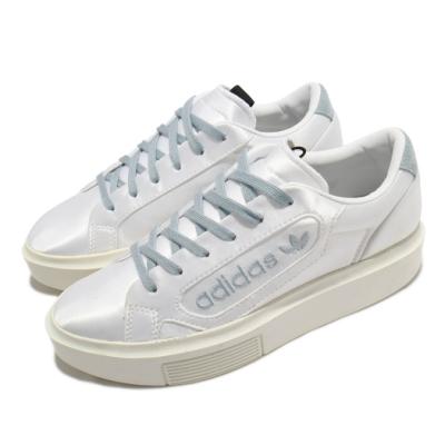 adidas 休閒鞋 Sleek Super 運動 女鞋 愛迪達 緞面 質感 球鞋 厚底 穿搭 白 藍 EG6770