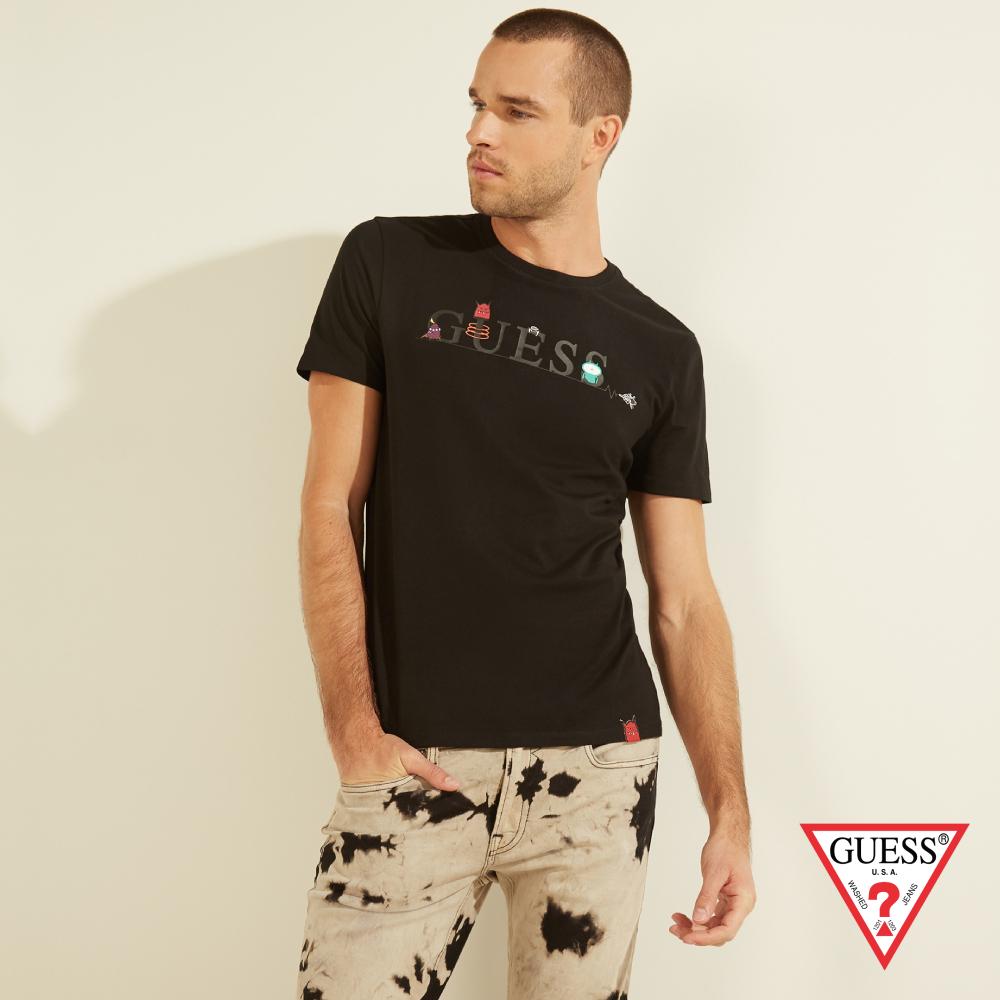 GUESS-男裝-美式趣味塗鴉LOGO短T,T恤-黑 原價1290