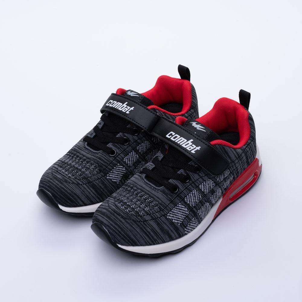 艾樂跑Combat童鞋 魔鬼氈飛織氣墊運動鞋-黑/藍 (TD-6275)
