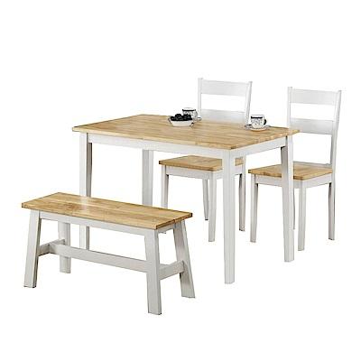 AT HOME-歐式鄉村白+原木色3.8尺餐桌椅組(1桌3椅)
