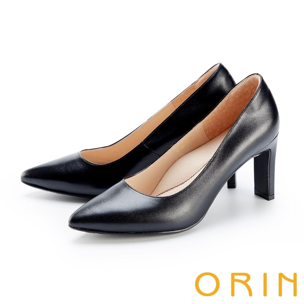 ORIN 羊皮素面典雅尖頭 女 高跟鞋 黑色