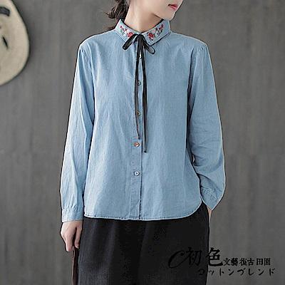 復古刺繡牛仔襯衫-藍色(F可選)    初色