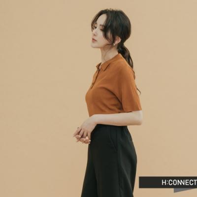 H:CONNECT 韓國品牌 女裝-素面針織POLO衫-棕