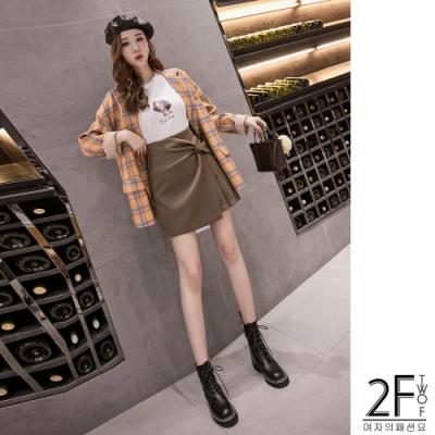 2F韓衣-不對稱皺摺造型百褶裙-卡2XL