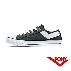【PONY】Shooter系列百搭復古帆布鞋 懶人鞋 休閒鞋 男鞋 墨綠
