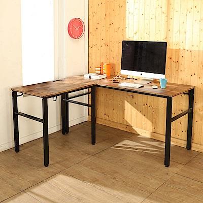 BuyJM低甲醛復古風L型160+80公分穩重附插座工作桌-DIY