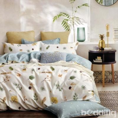 BEDDING-100%棉特大雙人6x7尺薄式床包-濃濃情思