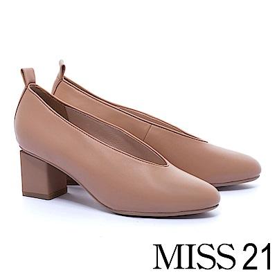 跟鞋 MISS 21 獨特復古輪廓全真皮純色高跟鞋-米