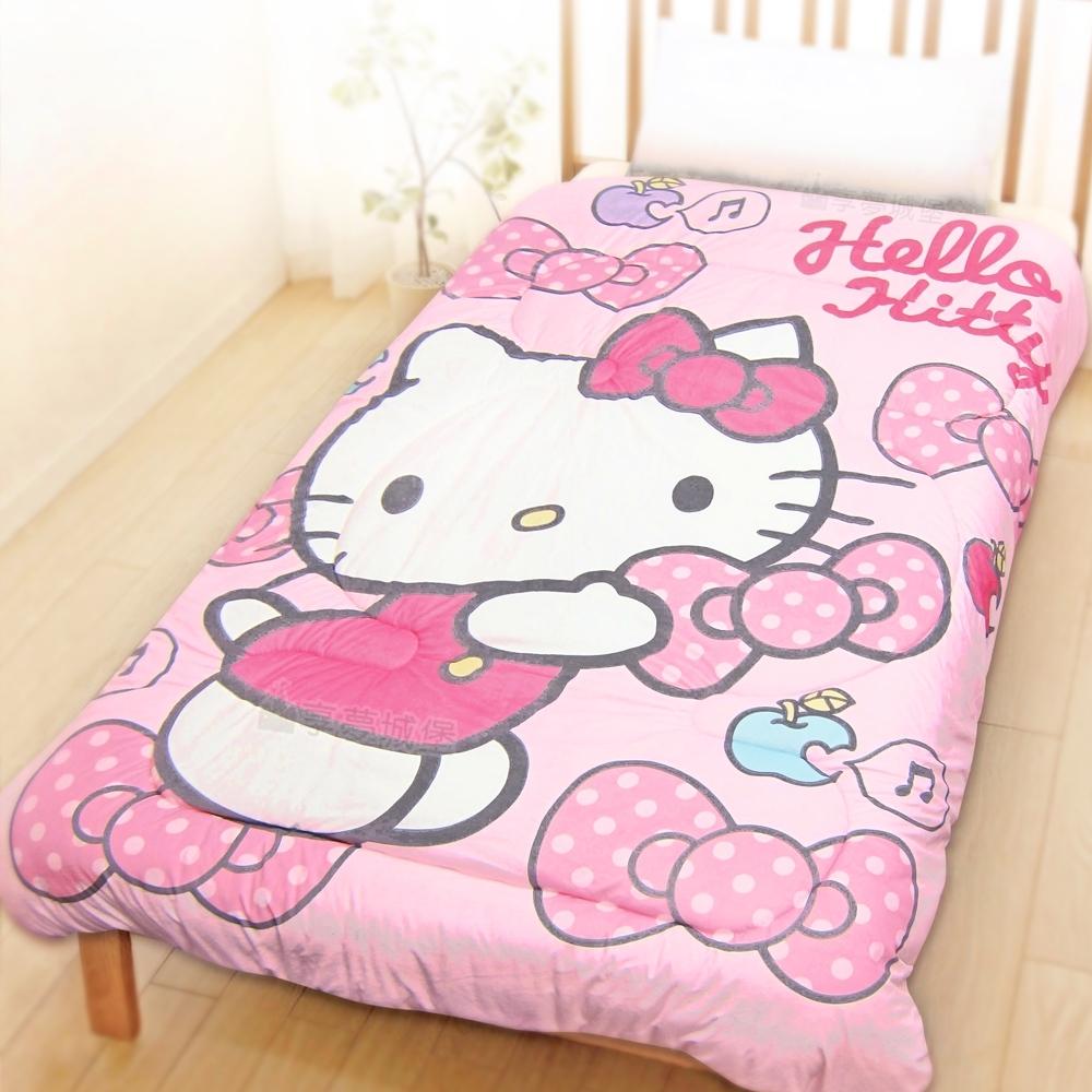 享夢城堡 超柔暖暖毯被150x195cm-HELLO KITTY 蘋果蝴蝶結-粉