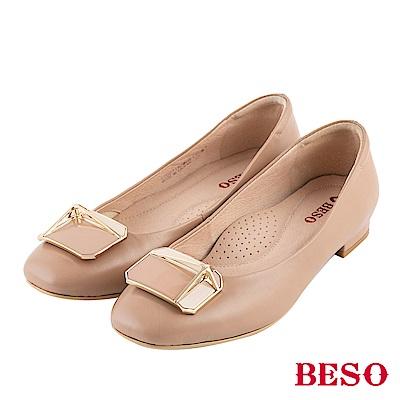 BESO 浪漫秋氛 金屬方釦平底鞋~卡其