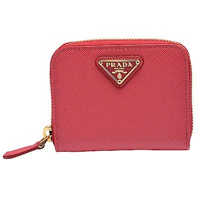 PRADA SAFFIANO TRIANG系列金色三角LOGO小牛皮拉鍊卡夾/零錢包-桃紅