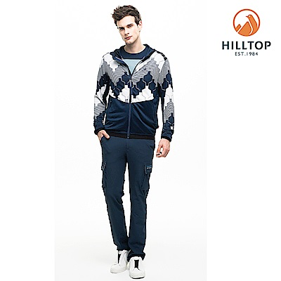 【hilltop山頂鳥】男款吸濕快乾抗菌抗UV針織外套S02M95墨黑/藍灰