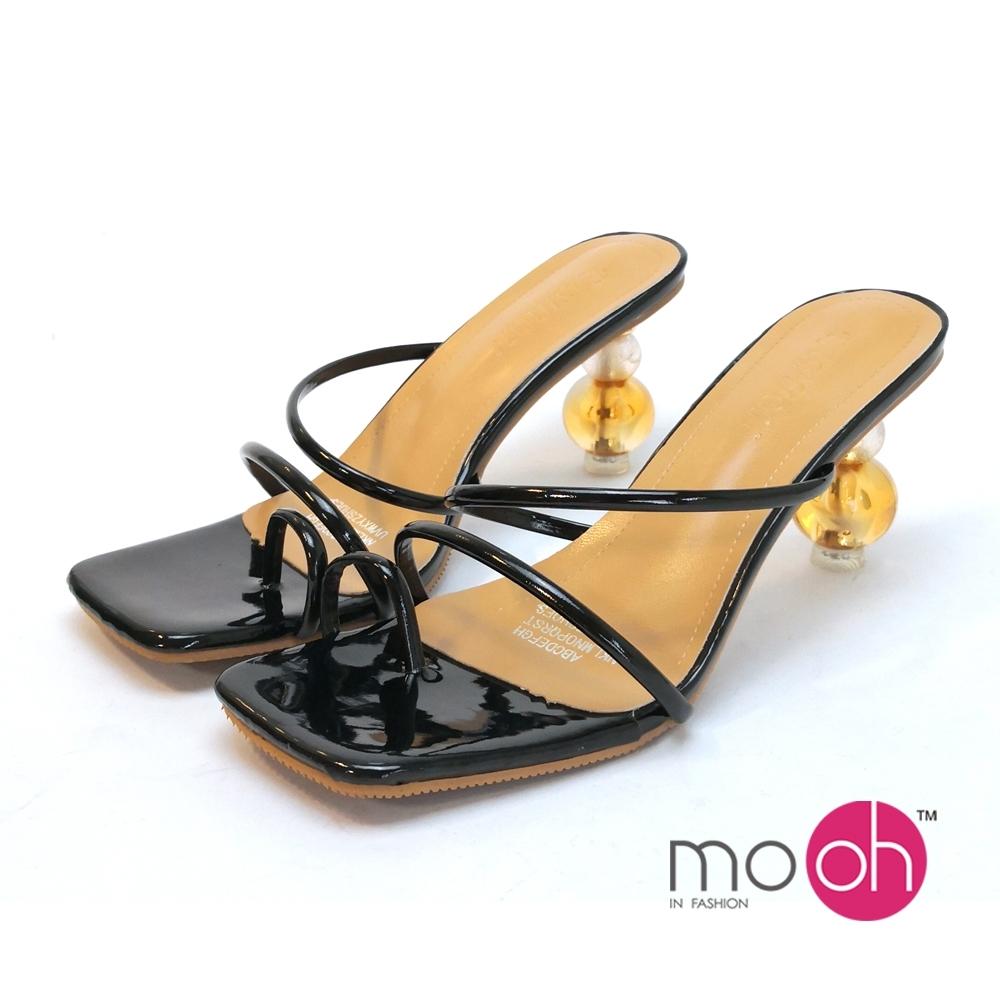 mo.oh高跟拖鞋仙女夾腳異形鞋跟涼鞋黑色