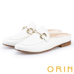 ORIN 金屬馬銜釦牛皮平底穆勒鞋 米白