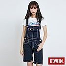 EDWIN MISS 暗格吊帶牛仔短褲-女-丈青