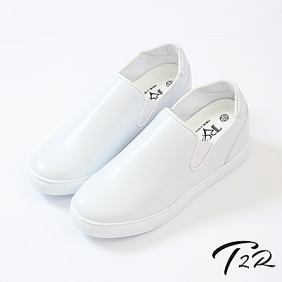 【T2R】韓國時尚皮質舒適內增高樂福鞋-增高6cm-白