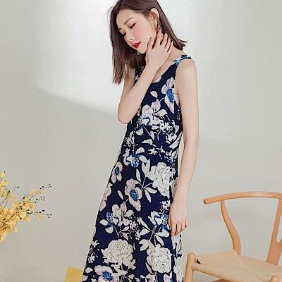 滿版夏日印花排釦背心洋裝-OB大尺碼
