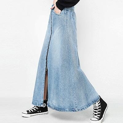 拉鍊前岔水洗牛仔A字長裙-(藍色)Andstyle