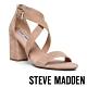 STEVE MADDEN-MOOD 時尚麂皮一字交叉帶粗跟高跟鞋-卡其色 product thumbnail 1