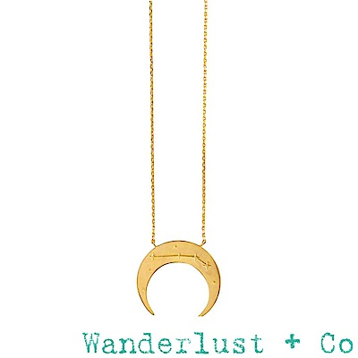 Wanderlust+Co 澳洲品牌 金色牡羊座項鍊 鑲鑽新月項鍊 ARIES