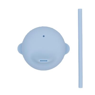 澳洲We Might Be Tiny 動物矽膠杯套吸管組-粉藍
