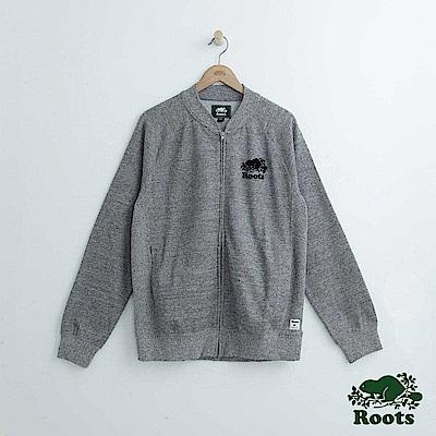 Roots 男裝-針織夾克外套-灰色