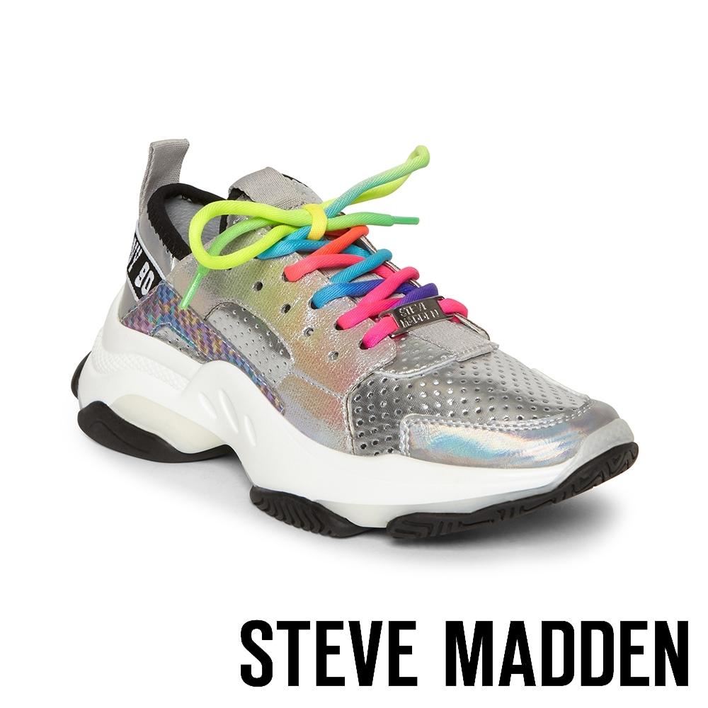 STEVE MADDEN-AJAX炫色亮皮老爺復古鞋-銀色