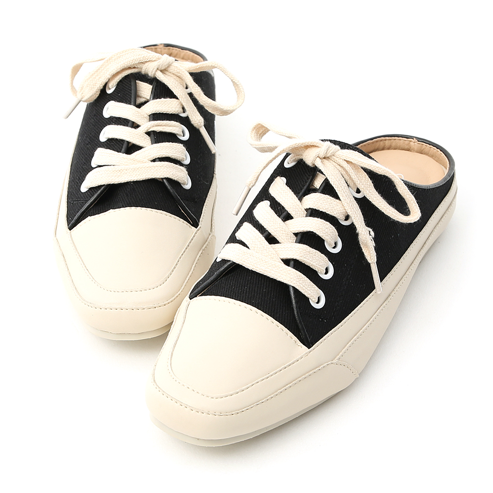 D+AF 隨性有型.小方頭帆布休閒穆勒鞋*黑